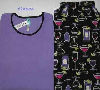 HUE Cocktail Martini Wine Glass Pajamas Womens L XL NWT