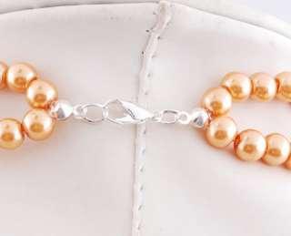 W20807B Yellow Flower 2Rows Imitate Pearl Rhinestone Necklace Earrings