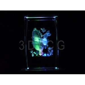 Disney Pooh Bear & Piglet 3D Laser Etched Crystal