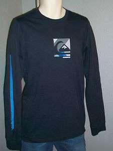 QUIKSILVER Men T shirt Compound Blue Long Sleeve Wave Stripe down