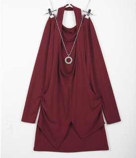 New Korean Women Long Sleeve Slim Top Mini Dress 4 Colors 1094