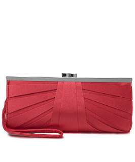 Coral (Orange) Pleated Satin Clutch  218255383  New Look