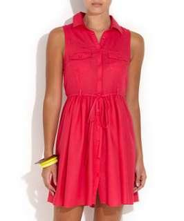 Pink (Pink) Bright Pink Sleeveless Shirt Dress  246492970  New Look