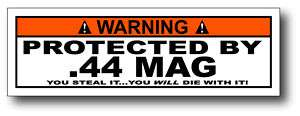 Protected By 44 Mag Magnum Funny Bumper Sticker Decal
