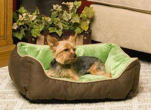 Lounge Sleeper Self Warming Eco Friendly Dog Cat Pet Bed Mocha/Green