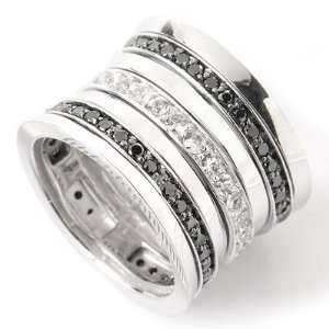 14K White Gold Black Diamond & White Sapphire Spinner Ring: Jewelry