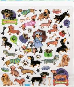 Dachshund dog stickers bones paw prints silver outline