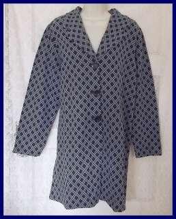 New 1X Brown Blue Nina Leonard Jacquard Knit Jacket and Solid Pants