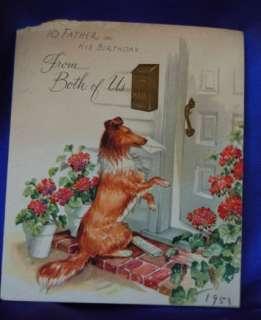 Vintage 1951 Birthday card w handsome lassie dog, ruff coated collie