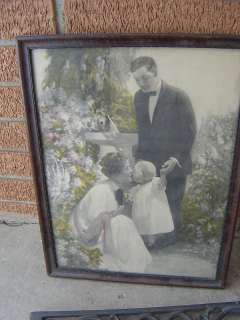 vtg BABY MOTHER FATHER PRINT wood FRAME 16 X 12