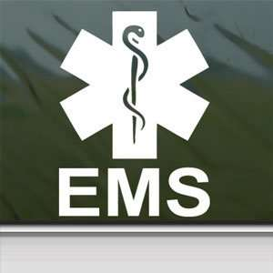 EMS Emergency Medical Services White Sticker Laptop Vinyl