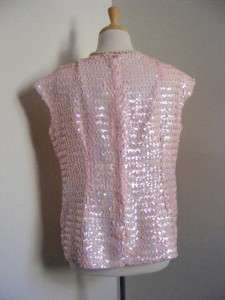 Vtg 50s 60s Opalescent Baby PINK SEQUIN Blouse Top Shirt L/XL