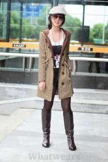 Womens Single Breated Long Trench Coat/Jacket Khaki W27