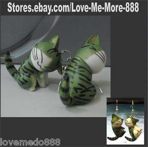Ladies Cute 3 cm Plastic Funny Cat earrings LM1412