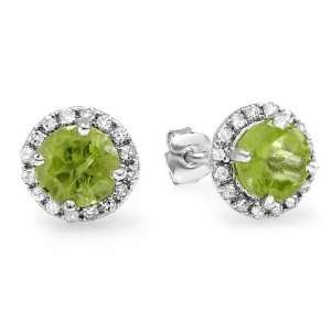 Halo Green Peridot Stud Earrings (2.00 CT, G H Color, SI I Clarity
