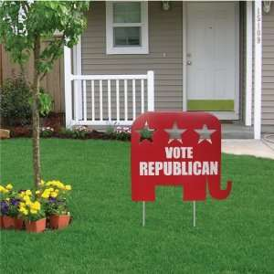 Vote Republican Elephant Shaped Yard Sign   22W x 19 H, W/Heavy Duty