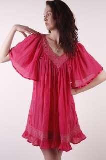 Vtg 70s Pink Hippie BOHO CROCHET sheer Gauze Angel Sleeve FESTIVAL