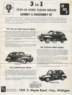 1939 40 Ford Tudor Sedan by AMT Assembly Instructions