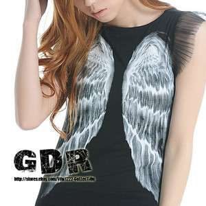 PUNK NROCK BLACK BIG WING ON FRONT/ BACK LONG SHIRT TOP 121008