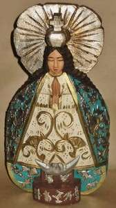Mexican Folk Art LG Wood Virgin with Milagros 12 1/4H