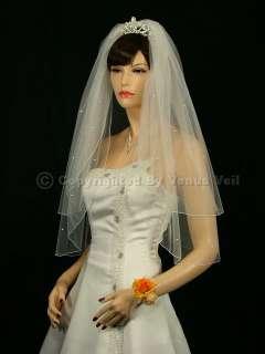 2T Ivory Wedding Bridal Elbow 40 Rhinestones Veil