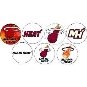 Set of 7 MIAMI HEAT LOGO Pinback Buttons 1.25 Pins / Badges Wade Bosh
