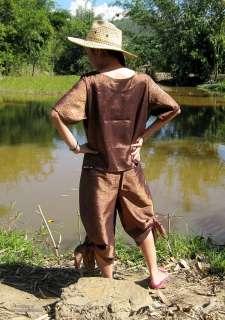Aztec Motif Thai Silk Drive In Wrap Pants and Short Shirt Set in Brown