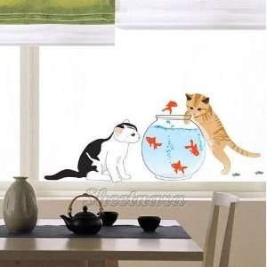 Cat & Fish Peel & Stick Decorative Wall Art Sticker Decal