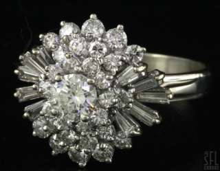 VINTAGE 14K WHITE GOLD EXQUISITE 1.86CT DIAMOND CLUSTER COCKTAIL RING