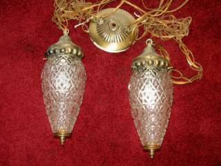 VINTAGE 40s   50s TWIN CHAIN HANGING GLASS SWAG LAMPS