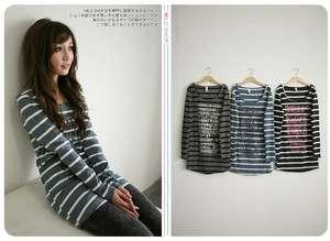 NEW Womens Girl Japanese Korean Fashion Style Stripe Words Long Sleeve