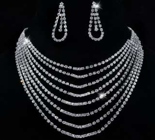 Rhinestone Crystal Clear Bridal Wedding Necklace Earrings 1set