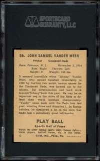 1941 Play Ball #56 Johnny Vander Meer SGC 86 NM+