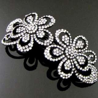 , rhinestone crystals flower hair barrette clip