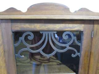 Antique Burl Walnut China Cabinet Or Bookcase w Glass