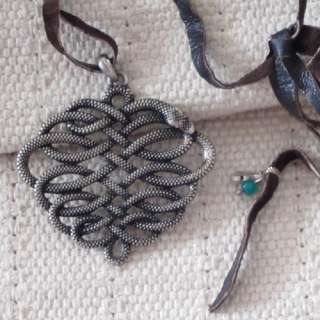 24 New Lucky Brand Leather Cord Pendant Necklace Gift Vintage Silver