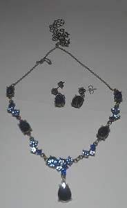 AVON AFTER DARK BLUE RHINESTONE NECKLACE PENDANT EARRING CHAIN GIFT