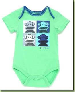 Paul Frank Julius Color Faces Green Romper Infant Baby Boys