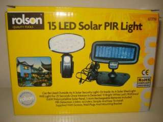 Solar Powered PIR 15 LED Light. Entrance or Shed Rolson