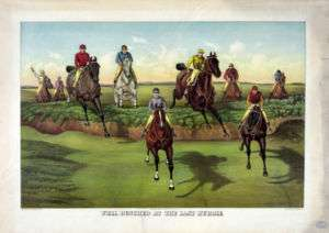 Currier and Ives   Horse race jockey hurdle jump print