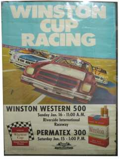 Vintage Original 76 Nascar Winston Cup Poster Chevy Laguna Monte
