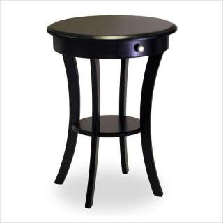 Winsome Solid Wood Round End Black Accent Table 021713202277