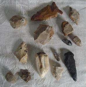 Old dug Arrowheads, Civil War Bullet Fossilized Teeth