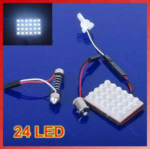 24 LED SMD Interior Room Dome Door Car Light Panel Lamp Bulb White