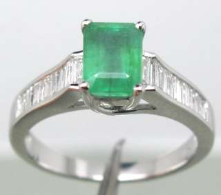 Solid 14Kt White Gold Natural Columbian Emerald