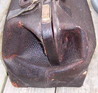 Antique Vintage Doctors Bag Brown Leather A.K.M with Skeleton Key