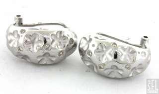 18K WHITE GOLD LOVELY ELEGANT .24CT VS DIAMOND FLOWER SHRIMP EARRINGS