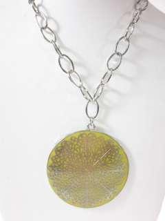 NEW DESIGNER Silver Plated Enamel Large Disc Necklace
