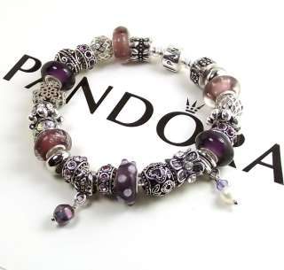 Mothers Day Gift Authentic Pandora Bracelet Chain Purple Bead Pearl