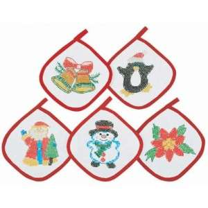 Holiday Express Stamped Cross Stitch Pot Holders Set 5